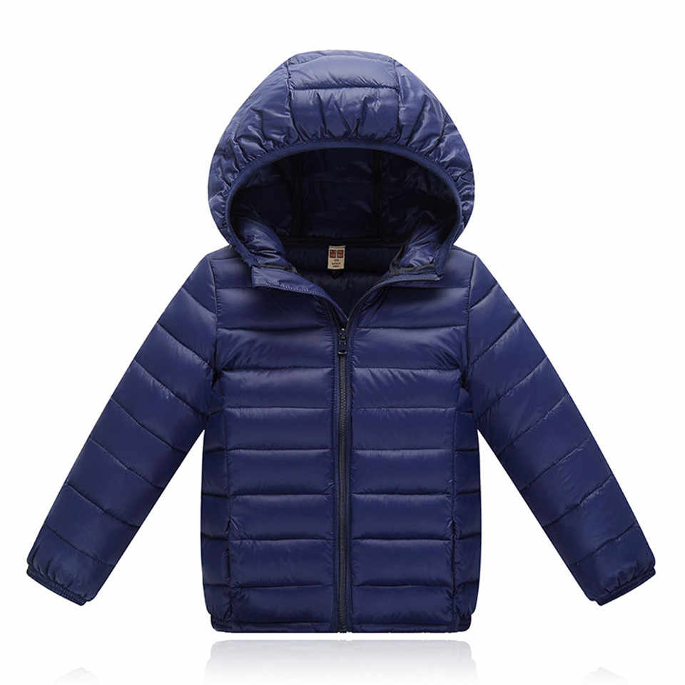 Children Jacket Outerwear Boys Girls Spring Autumn Warm Ultra Light Solid Cotton-padded Hooded Coat Teenage Parka Kids Clothes