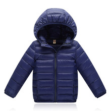 Children Jacket Outerwear Boys Girls Spring Autumn Warm Ultra Light Solid Cotton-padded Hooded Coat Teenage Parka Kids Clothes цена в Москве и Питере