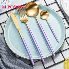Dinnerware Set Forks Knives Spoons Steel Cutlery Gold Western 24pcs Stainless Spoon and Fork