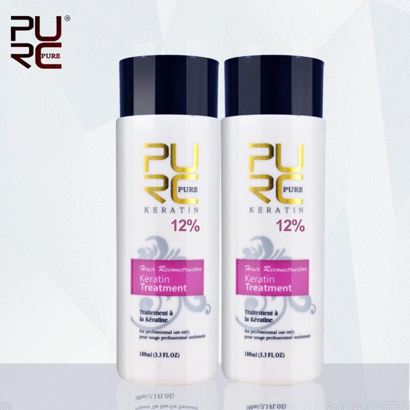 12% Formalin keratin smoothing and shine hair treatment hot sale free shipping 2 pcs PURE to repair hair damaged hair 100ml