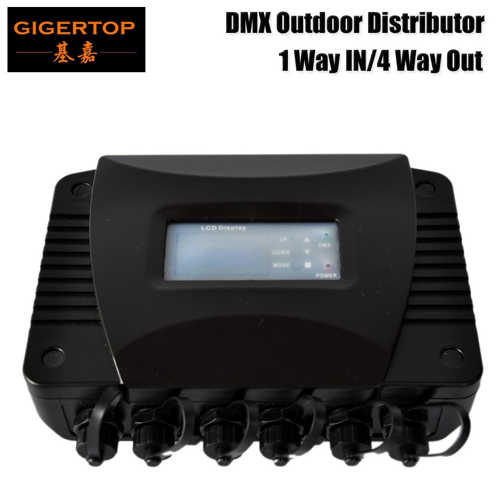 Gigertop TP D1318 открытый дистрибьютор DMX 1 способ в/4 выхода Пластик Корпус Водонепроницаемый Свет этапа DMX сплитер коробка 110 В 220 В