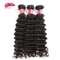 Ali Queen Hair 3/4Pcs Deep Wave Brazilian Hair Weave Bundles Remy Hair Weaving 12 30 Human Hair Extension Natural Color