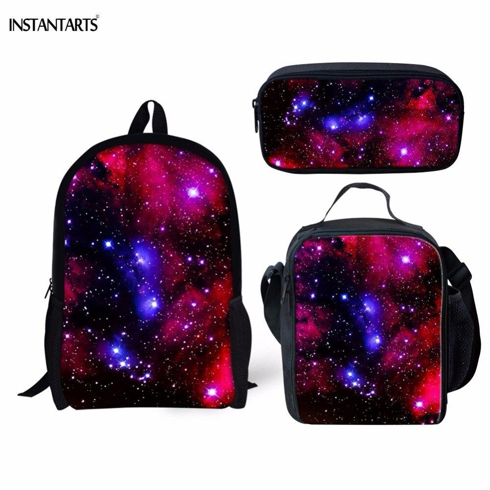 INSTANTARTS Fashion Galaxy/Space/Universe Print Boys Girls Schoolbags Casual 3PCS Set Backpacks Children Orthopedic School Bags slogan print space dye pajama set