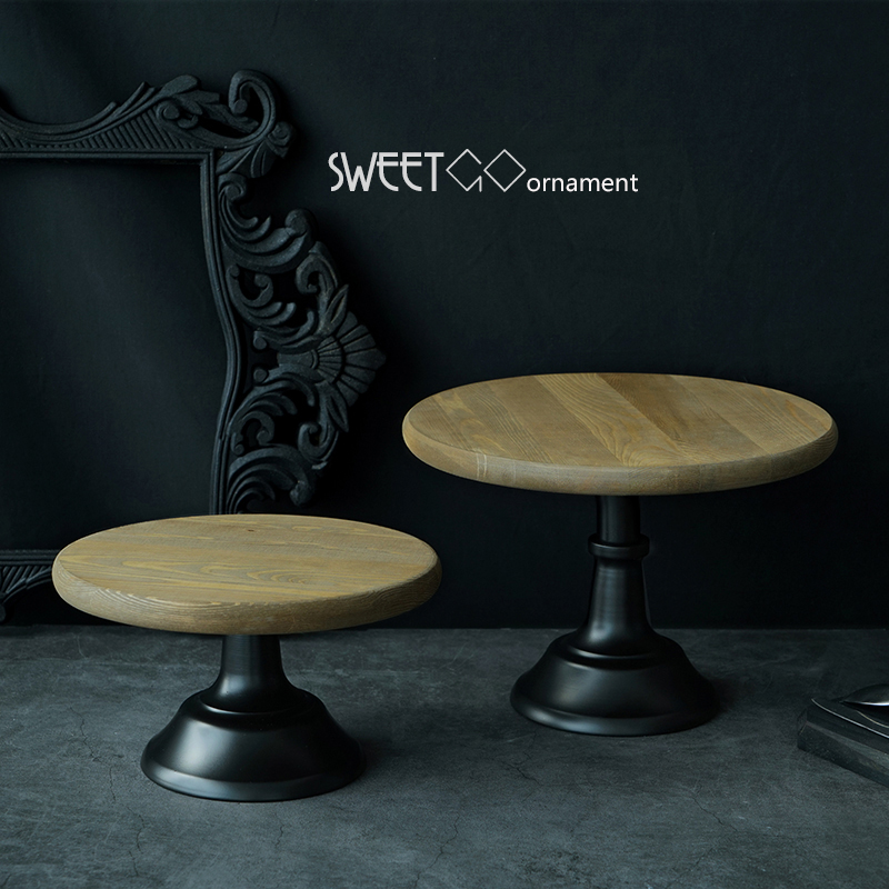 SWEETGO Wood cake stand 10/12inch wedding cake <font><b>tools</b></font> fondant cake display plate for party home decoration bakeware Kitchen& bar