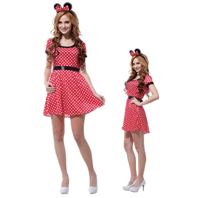 e6c6b67cf0693 Adult Cute Cartoon Outfit Nifty Minnie Mouse Christmas Cosplay Halloween DS  Nightclub Costume Japanese Anime Xmas Dress
