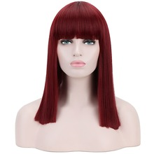 Long Straight Wigs Blunt Bangs Full Synthetic Burgundy Hair Wigs Female 16'' Fashion Wig Christmas Heat Resistant Fiber