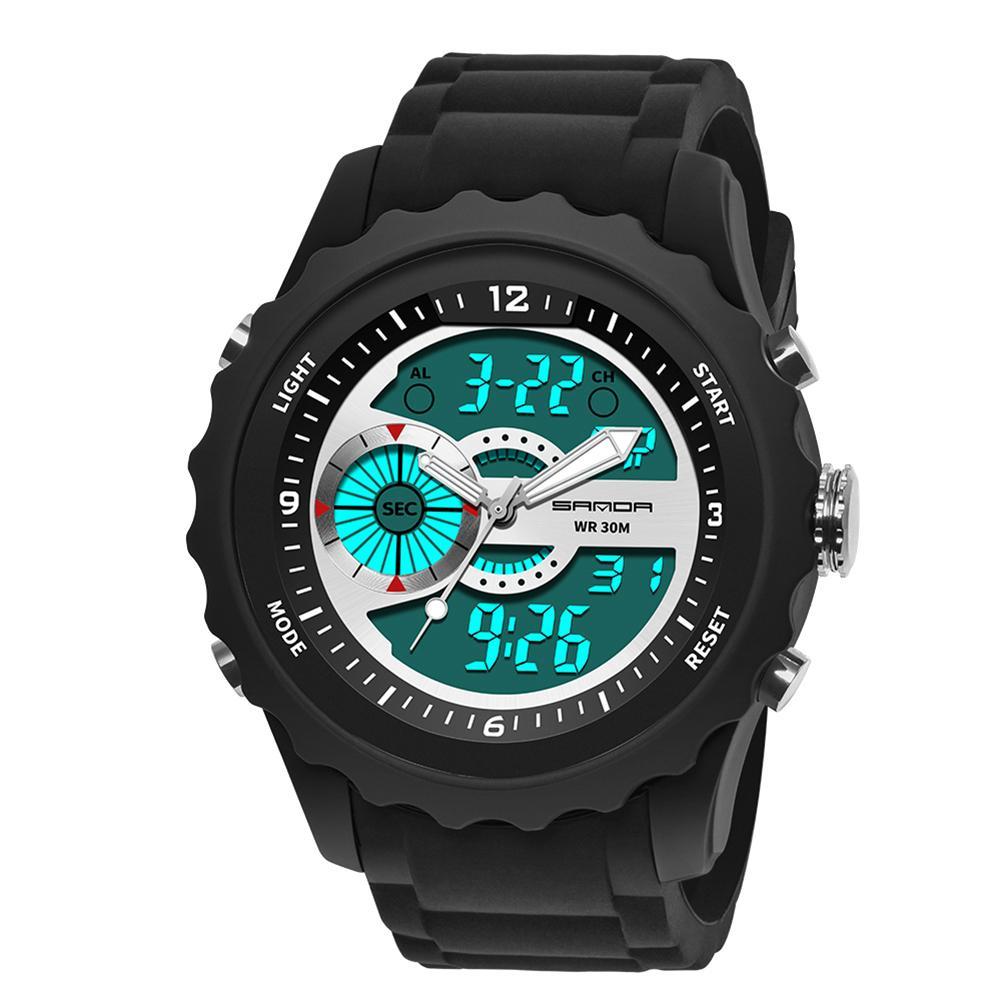 Digital Analog Dual Display Alarm Luminous Date Men Silicone Band Wrist Watch new