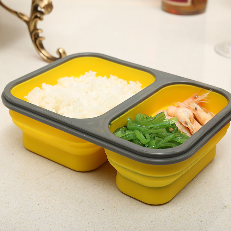 2 Compartment Eco Silicone Collapsible Lunch Container Silicon Lunch ...