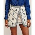 2017 nueva primavera de cintura alta irregular faldas de algodón y lino bordado