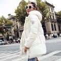 Amassado feminino jaqueta 2016 novas mulheres jaqueta de inverno para baixo jaqueta de algodão parkas magros das senhoras casaco de inverno