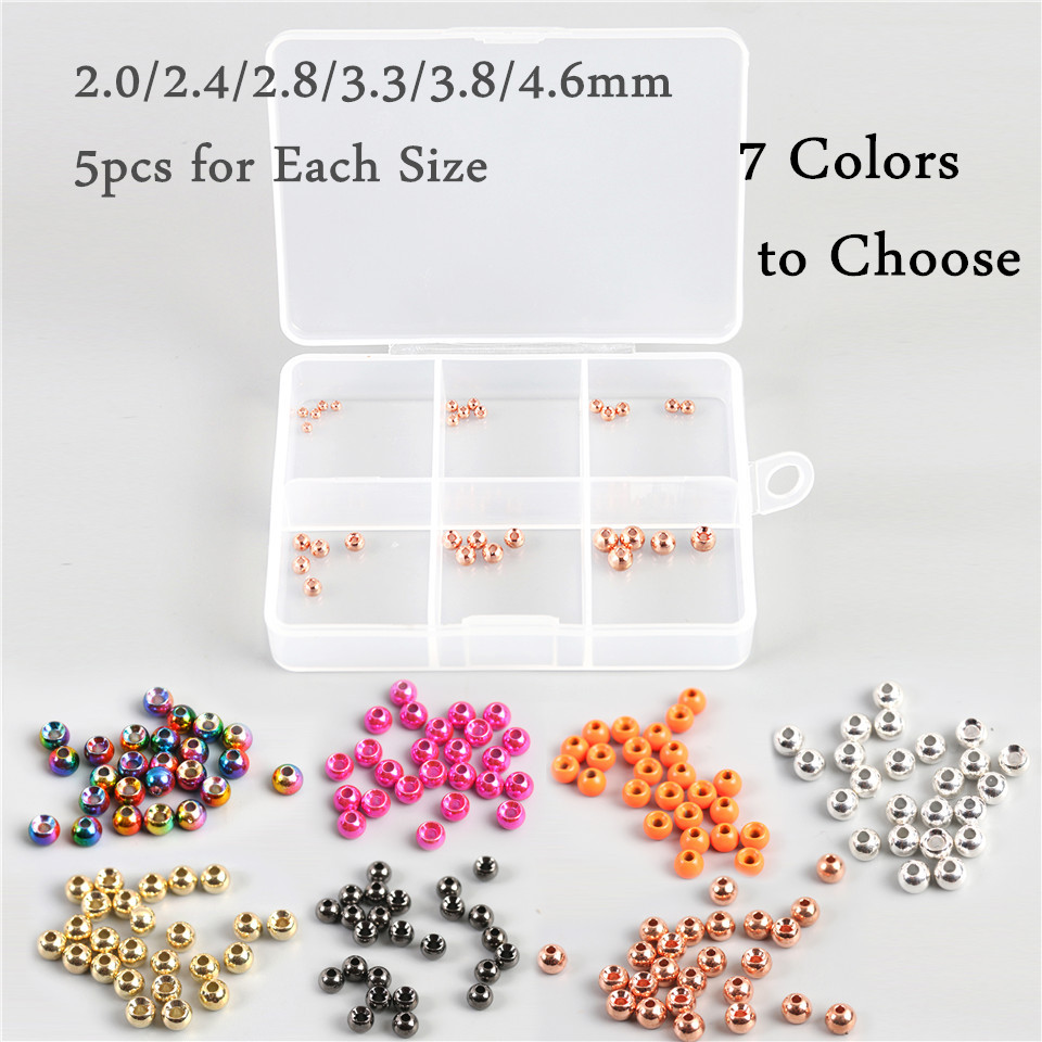 Maximumcatch 30pcs/lot 2.0-4.6MM Tungsten Fly Tying Nymph Ball Beads Fly Tying Material with Box