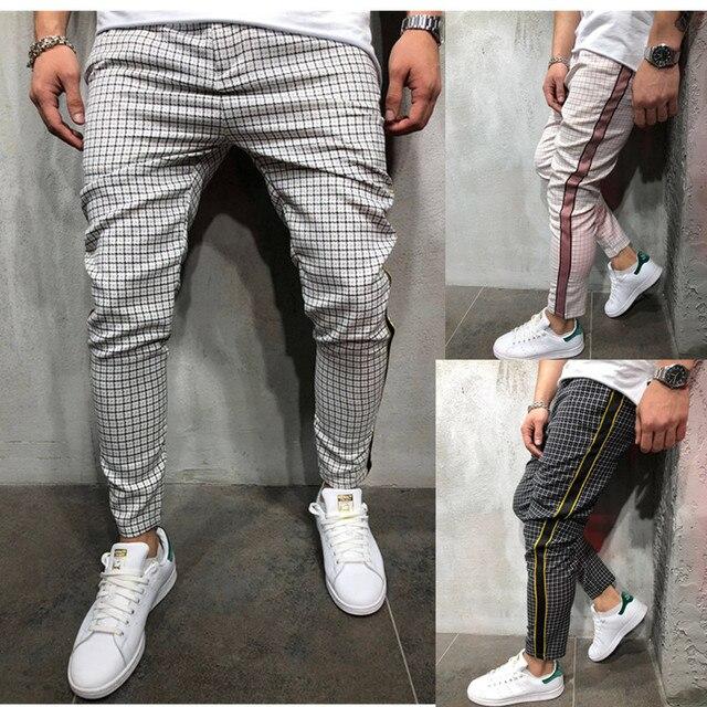 Newest Fashion Wear Take Cotton Blend Men Striped Long Casual Men Pants Slim Fit Skinny Urban Trousers Joggers Sweatpants