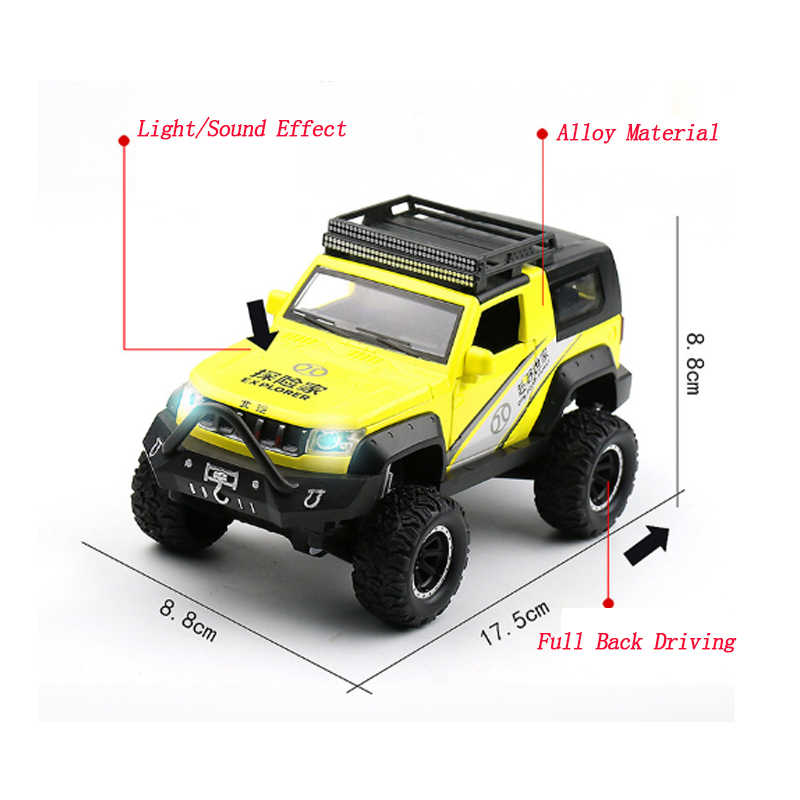 Modelo de coche BeiQi Jeep Pie Grande modelo de ruedas todoterreno SUV con luz y sonido de aleación trasera completa juguetes modelo 1:32 para niños