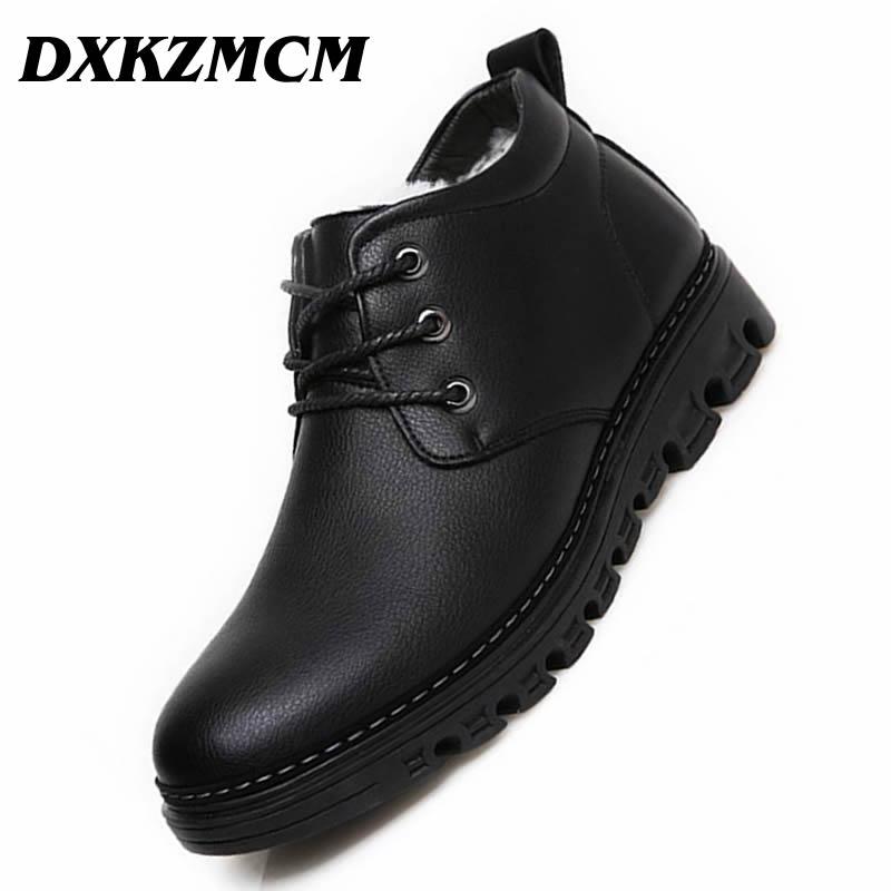 DXKZMCM Handmade Men Split Leather Winter Boots Warm Snow Men Boots Ankle Boots For Men Business Leather boots