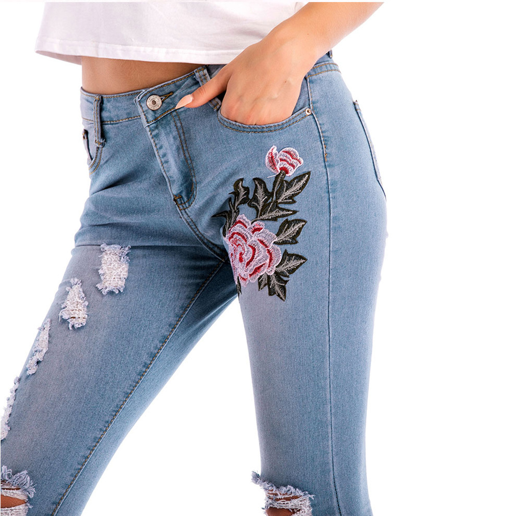 Ripped Hole Jeans for Women New High Waist Elastic Vintage Jeans Women Casual Skinny Sexy Pencil Pants Plus Size