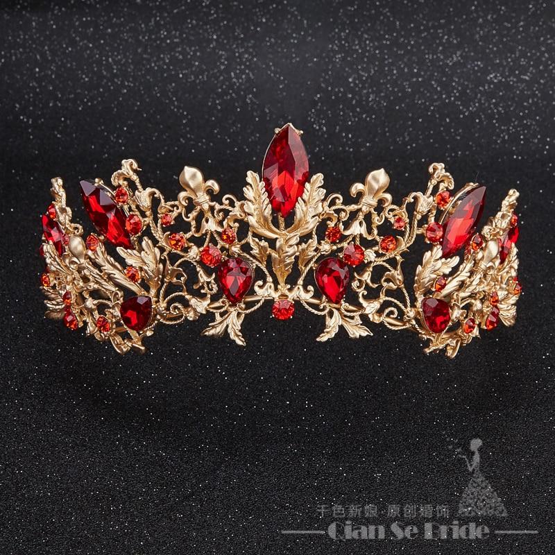 Baroque Bridal Red Crystal Rhinestone Tiaras And Crowns
