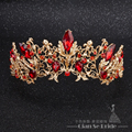 Baroque Bridal red Crystal Rhinestone Tiaras and Crowns Women Bridal Tiara Hair Jewelry Wedding Hair Accessories Gold plated