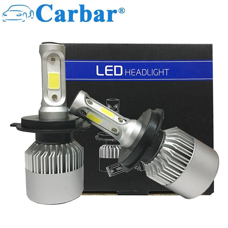 Carbar# S2 LED Headlight Bulb H4 Hi/Lo Bean Car LED Headlight Bulb Conversion Kit 72w 8000Lm/set 6500K LED Bulb H1 H3 H7 H8 9005