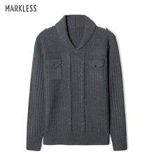 Markless пуловер с v-образным вырезом мужской свитер Зимний толстый теплый вязаный свитер pull homme sueter hombre MSA2706M