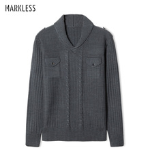Markless V-neck Pullover Sweater Men 2018 Winter Thick Warm Knitting Sweater pull homme sueter hombre MSA2706M