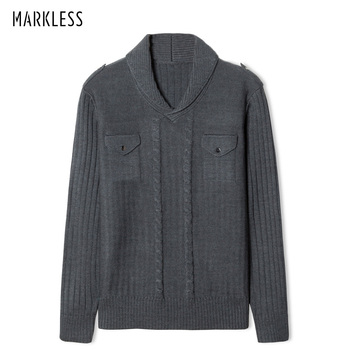 Markless V-neck Pullover Sweater Men 2018 Winter Thick Warm Knitting Sweater pull homme sueter hombre MSA2706M markless o neck sweater men 100% cotton winter warm stripe sweaters pullover men christmas pull homme sueter hombre msa3710m
