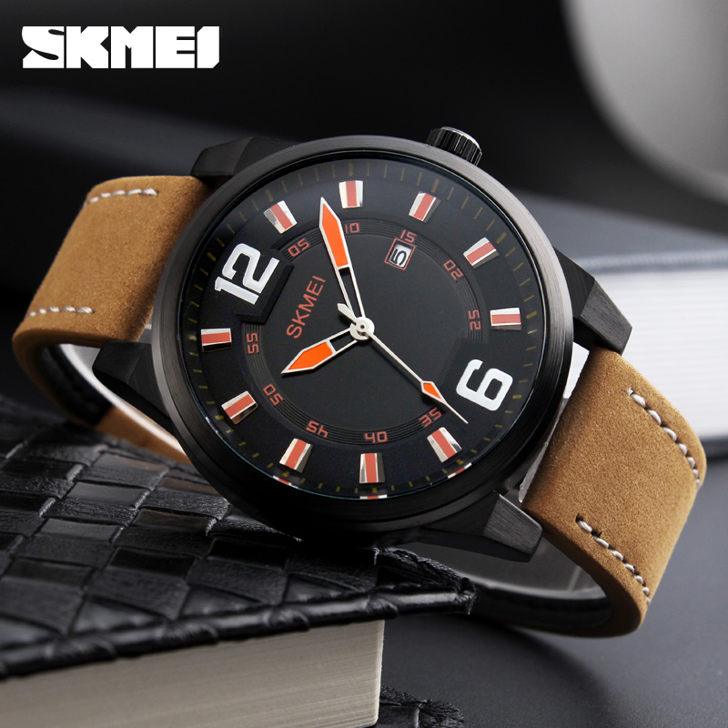 SKMEI Mens Quartz Watch Men Clock Reloj Male Fashion Casual Watches Relojes Date Leather Man Wristwatches Relogio Masculino 1221 reloj hombre curren gold watch men leather date day hours quartz casual watches mens rectangle wristwatches 30m waterproof 8097