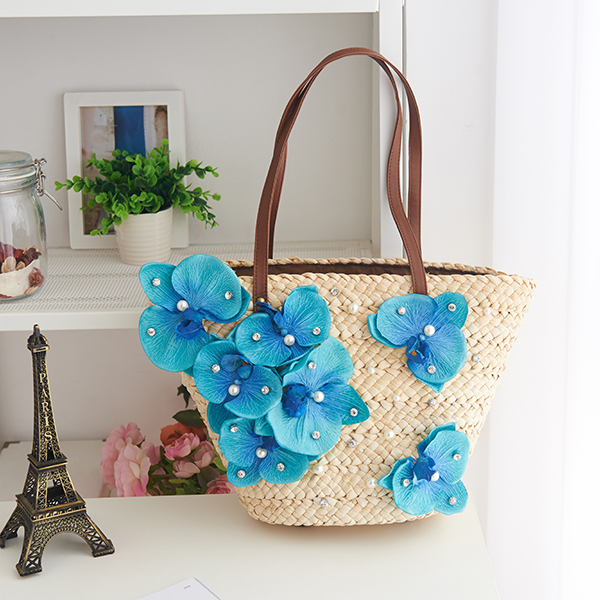 beach bags straw blue pearls floral summer shoulder flowers bag rattan woman bags bales on holiday travel trip