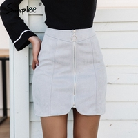 Simplee Sexy Leather Suede Pencil Skirt Women Zipper Ring Autumn Winter High Waist Short Skirt 2017