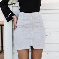 Simplee Sexy Leather Suede Pencil Skirt Women Zipper Ring Autumn Winter High Waist Short Skirt 2017