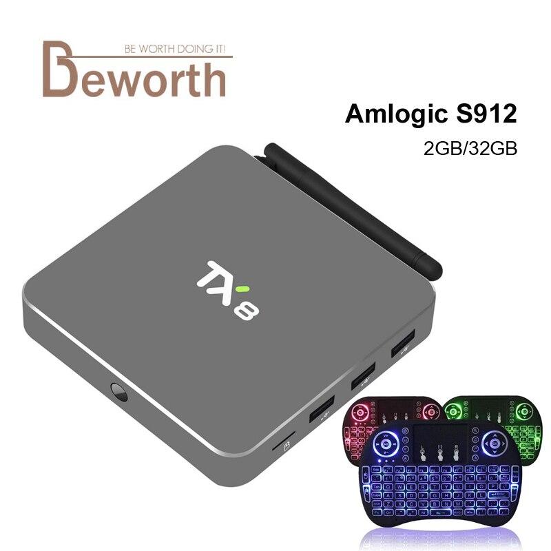 2GB RAM 32GB Amlogic S912 Octa Core TX8 Android 6.0 TV Box HDMI H.265 4K WIFI Media Player Smart Set Top Box Mini PC VS CSA93 diamond a9 android 6 0 tv box amlogic s912 2gb 16gb quad core wifi hdmi 4k 2k hd smart set top box media player mini pc iptv box