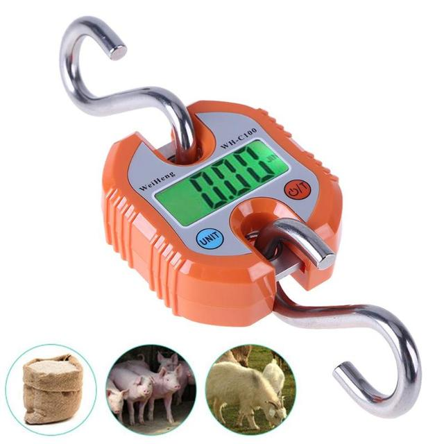 Mini Heavy Duty Electronic Digital Hook Scale Hanging Crane Scale Industrial LCD Luggage Balance Pocket Weighing Scale150KG300KG