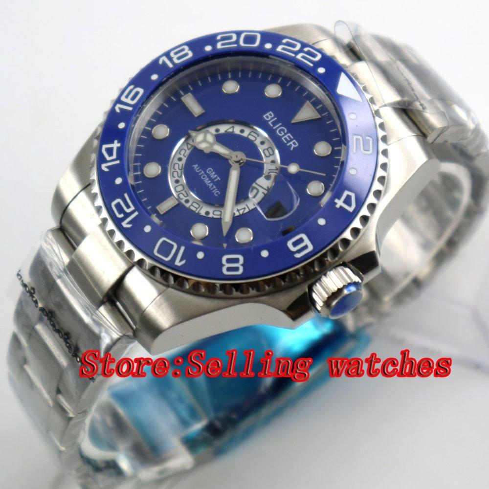 43mm Bliger Stainless Steel Case blue Dial blue Ceramic Bezel Luminous Mechanical Mens Wristwatch