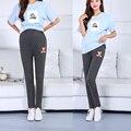 Одежда для беременных осень весна беременная женщина талии брюки брюки мультфильм медведь черный серый комбинезоны брюки свободный размер