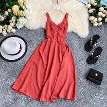College Wind dress Pure Color Temperament V-collar Sleeveless Single-row Button Shows Slender Gentle Dress Summer Chiffon