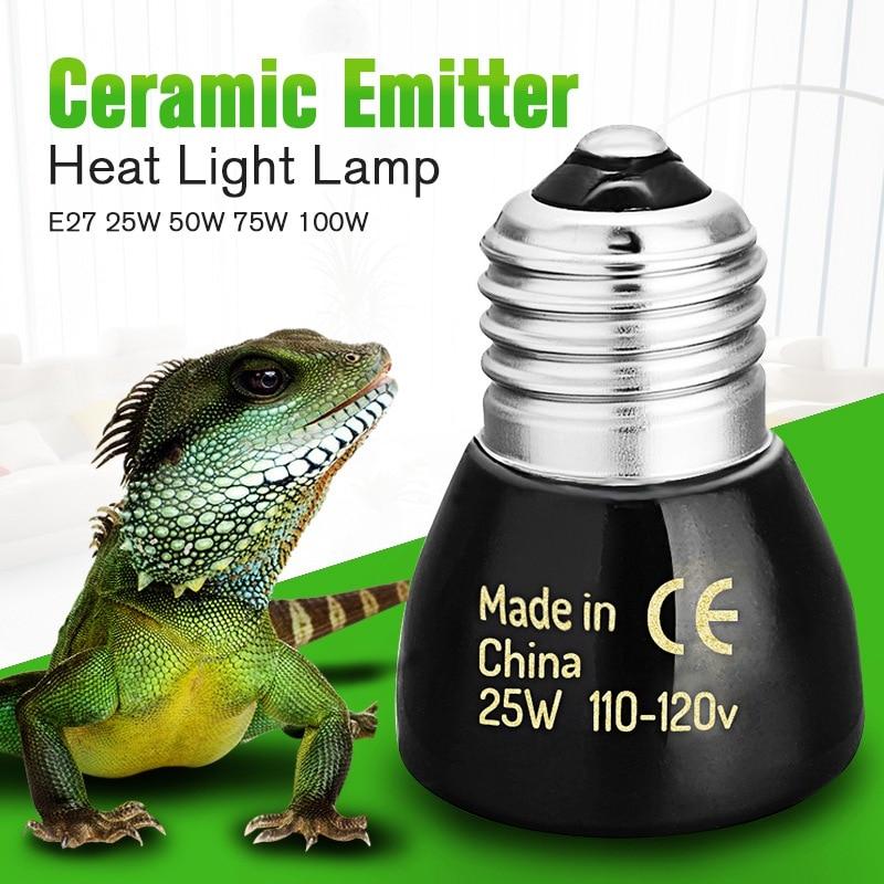 Pet Heating Light Bulb E27 25W 50W 75W 100W Mini Infrared Ceramic Emitter Heat Lamp Bulb Black For Reptile Pet Brooder 110V/220V