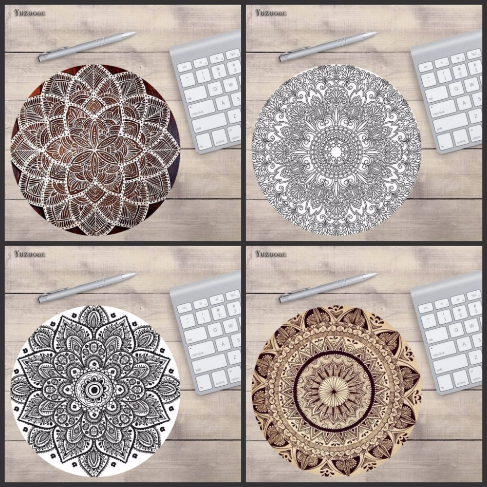 Yuzuoan Flowered Black And White Mandala New Small Size Round tablet laptop Gaming keyboard Mouse Pad Non-Skid Rubber Pad