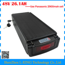 48V 26.1AH battery 48V 26AH bicycle battery 48V rear rack battery 26.1AH with tail light use Panasonic 2900mah cell 30A BMS