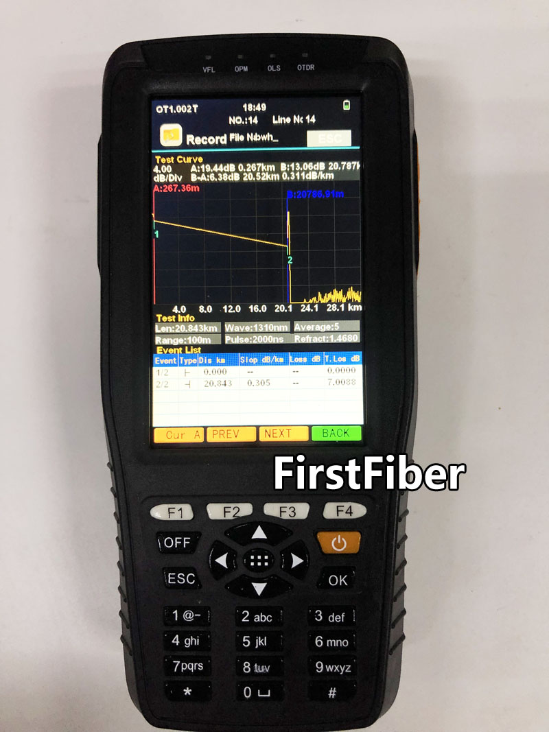 4 Inch Screen OTDR Optical Time Domain Reflectometer 1310 and 1550nm Built-in VFL OPM OLS Red Light With FC SC ST Connectors