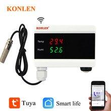 KONLEN-Detector de temperatura y humedad para el hogar, sensor con termómetro e higrómetro con pantalla digital y alarma, dispositivo wifi compatible con Tuya Smart y con aplicación para Android