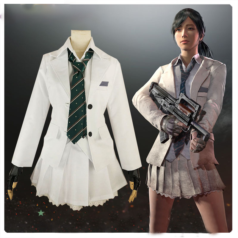 2017 Game  PUBG Playerunknown's Battlegrounds Cosplay Costume Halloween Carnival Japanese High School JK Uniforms Custom Made
