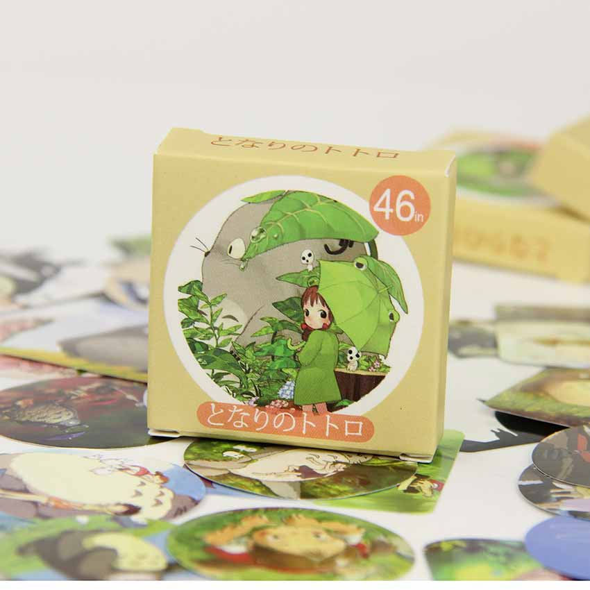 46PCS/set DIY Kawaii Cute Totoro Paper Sticker Creative Gift Diary Decor Scrapbooking Office Stationery