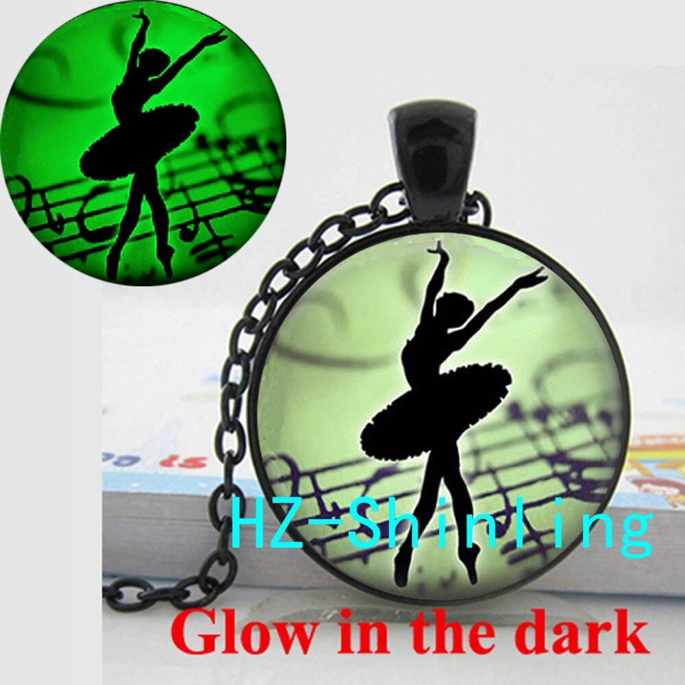 Glow in The Dark Jewelry Ballerina Danceing Art Necklace Glass Ballerina Silhouette Jewelry Glowing Necklace Pendant