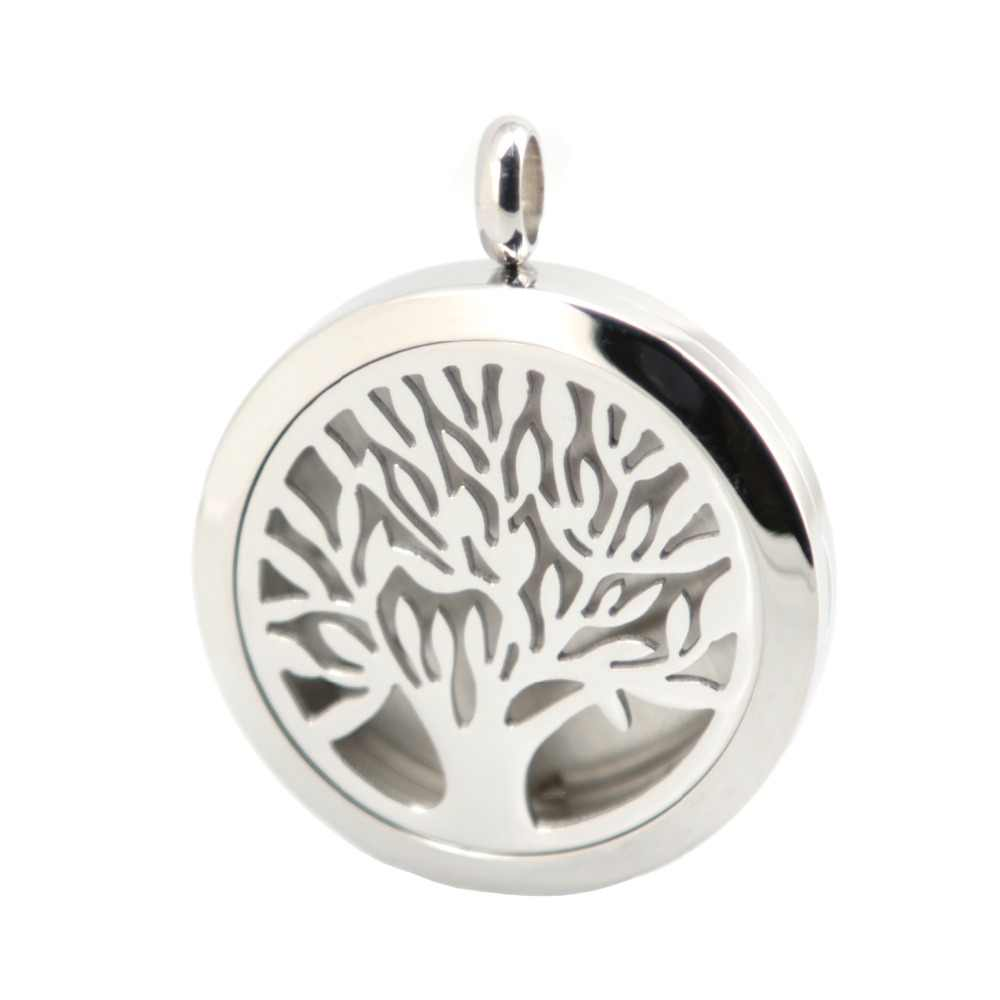 Tree of Life Aromaterapia Oli Essenziali Collana Dell'acciaio inossidabile del pendente Profumo Diffusore Medaglione Con catena e 10 pz feltrini