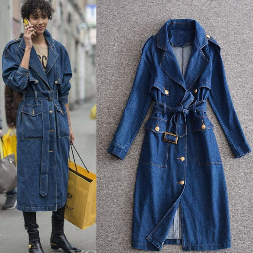 2018 autumn fashion New Belt Waist single breasted Sleeve Ladies Denim long trench coat women