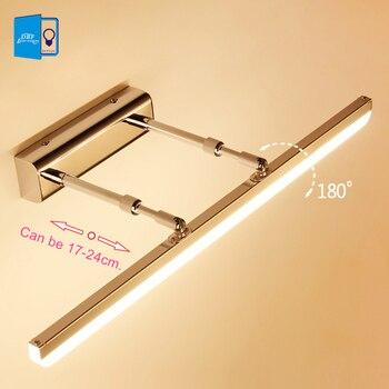 [DBF] Comprimento Ajustável 40 cm 50 cm 9 W AC85-265V 12 W Aço Inoxidável LEVOU Espelho de Luz Moderna luzes Do Banheiro Lâmpada de parede Arandela