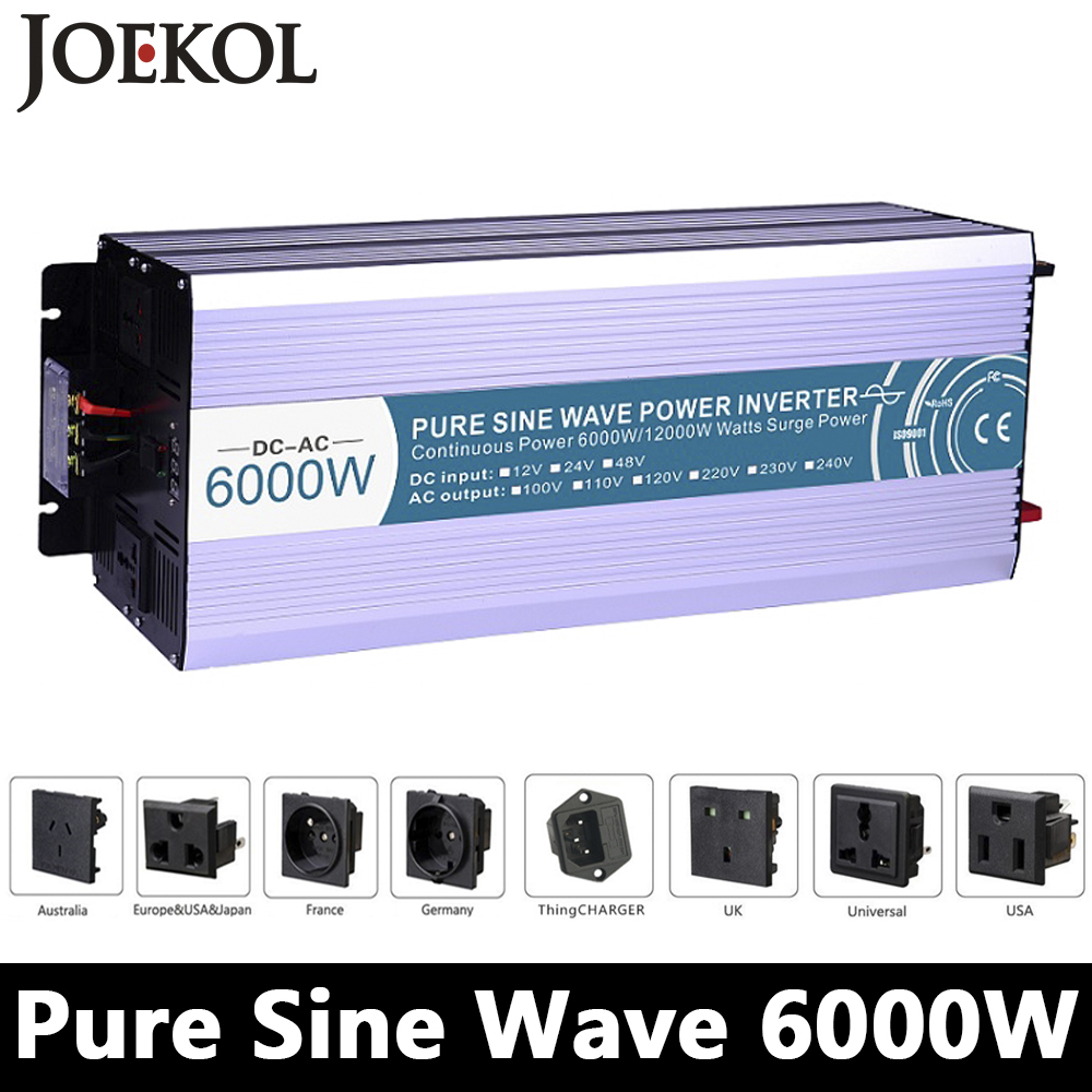 High-powe 6000W Pure Sine Wave Inverter,DC12V/24V/48V To AC110V/220V,off Grid Solar Inverter,voltage Converter Work With Battery