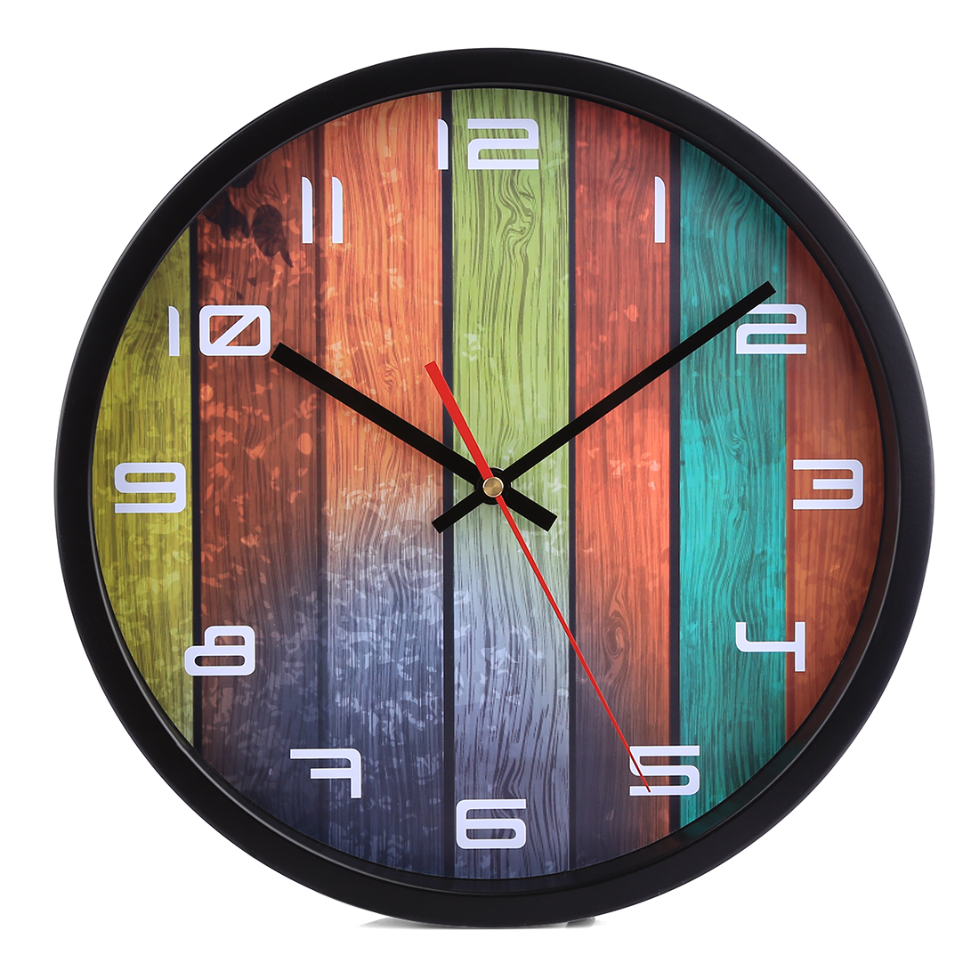 New Metal Creative Colorful Strip Pattern Mute Round Wall Clock Slient Circular Simple Hanging Clock Decor Home - Black Frame