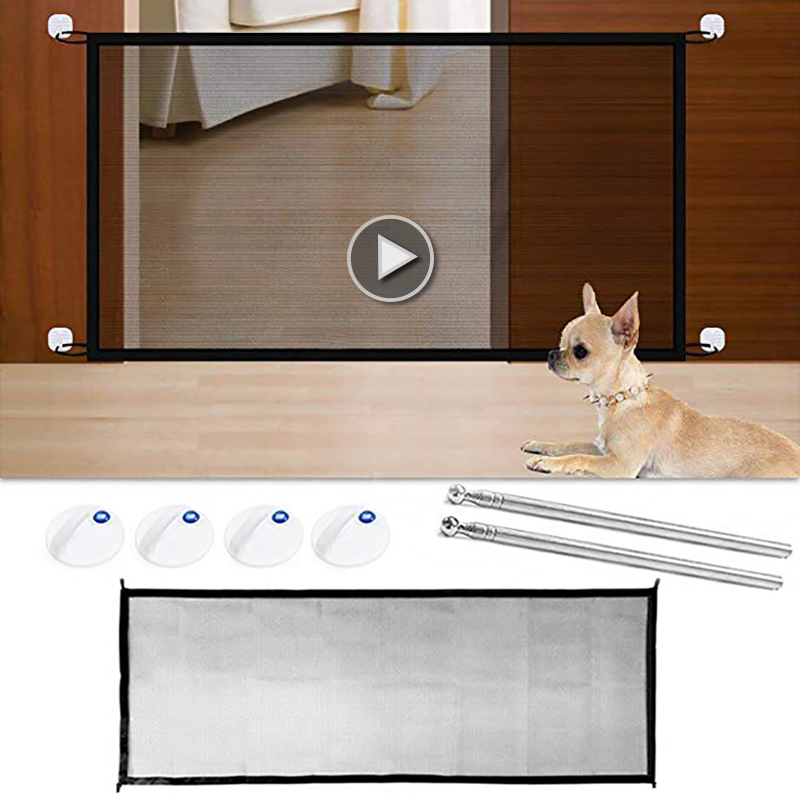 Dog Gate Folding Safe Guard Baby Gate Protection Mesh Portable Pet Baby Fence Magic Meshes More Useful Safety Products
