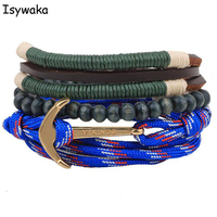 Isywaka 1 Dozen Bohemia Anchor Genuine Leather Bracelets Charm For Women Men Vintage Beaded Braided Bracelets Bangles