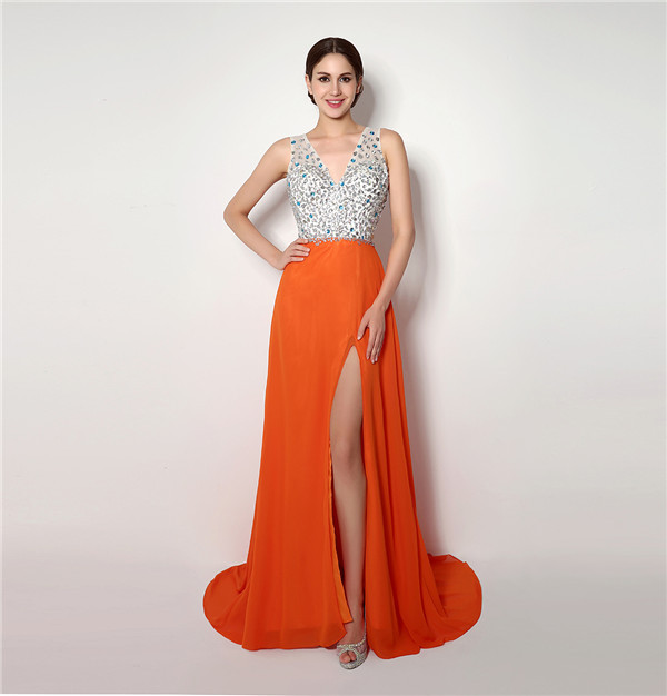 Orange Chiffon Gown with Slit Promotion-Shop for Promotional ...